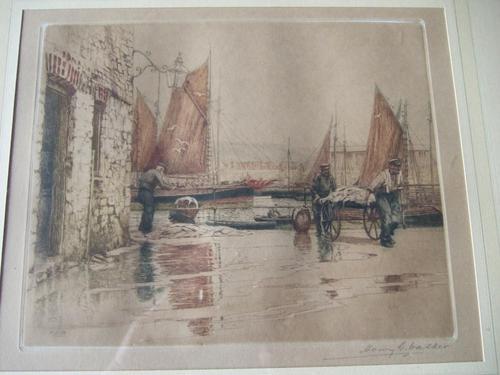 "Henry George Walker (1876-1932): coloured etching ""Landing Fish, Tenby""  ca.1920s (1 of 5)"