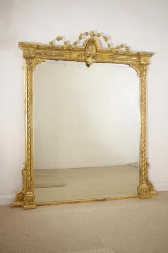 19th Century Gilt Overmantle Mirror with Bevelled Plate (1 of 12)