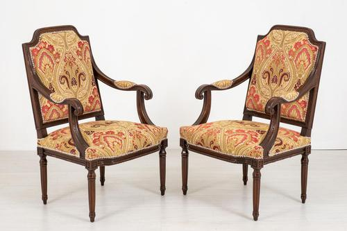 Pair of French Oak Open Armchairs (1 of 9)