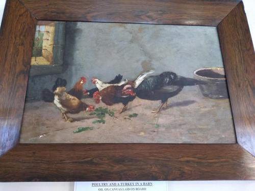 Poultry and a Turkey in a Barn, Unsigned (1 of 3)