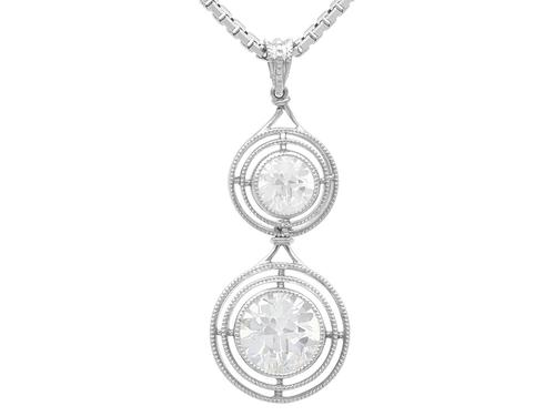 1.42 ct Diamond & Platinum Drop Pendant c.1930 (1 of 9)