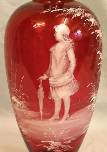 Antique Large Mary Gregory Ruby Cranberry Vase (1 of 6)
