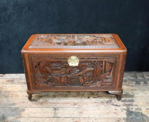 Oriental Carved Teak & Camphor Wood Chest - 1930s (1 of 15)