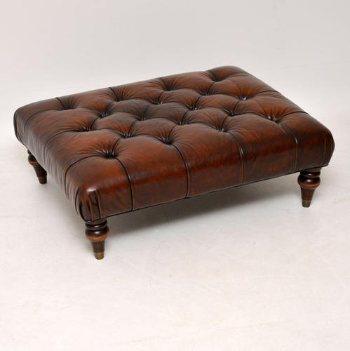 Antique Victorian Style Deep Buttoned Leather Stool (1 of 8)