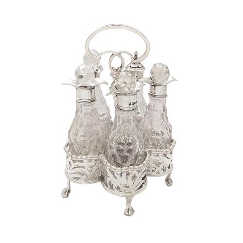 Antique Victorian Sterling Silver & Cut Glass Cruet Set 1900 (1 of 10)