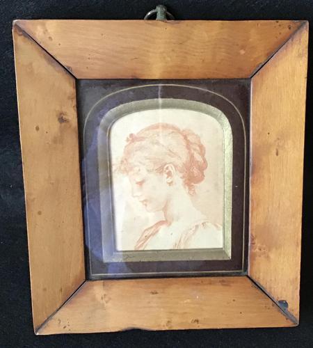 Antique Portrait  Miniature in Maple Frame (1 of 3)
