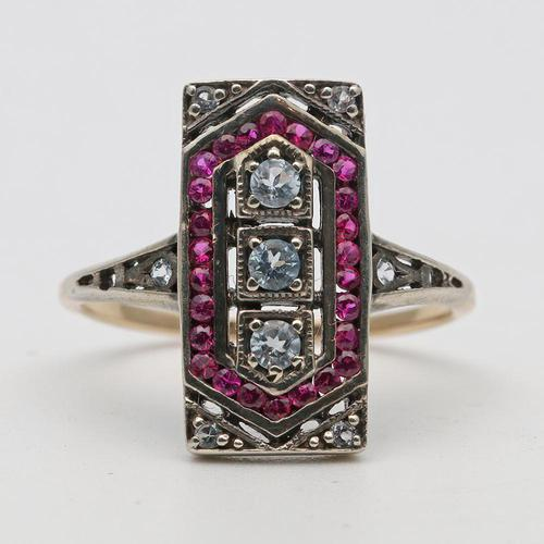 18ct Gold Ruby Art Deco Ring (1 of 2)