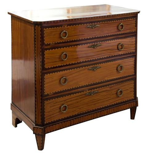 Small Dutch Satinwood Chest of Drawers (1 of 8)