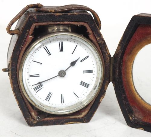 Extremely Rare Miniature Carriage Clock Round Silver Case with Original Case & Platform (1 of 11)
