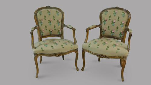 Pair of Carved Frame Louis XV Style Open Armchairs (1 of 5)