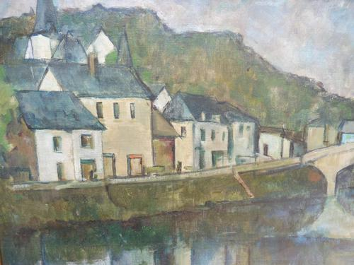 Oil on Canvas Laid on Board by the River Loire Listed Artist John Denahy (1 of 10)