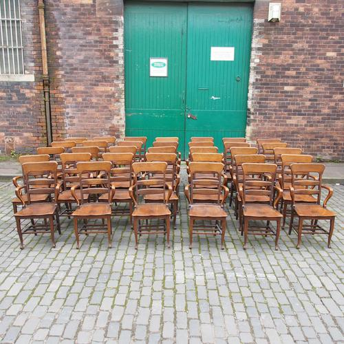 Rare Antique Set of 34 American Oak Chairs (1 of 15)