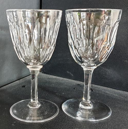 Pair Of Early Victorian Hand Cut Wine Glasses c.1845. (1 of 4)