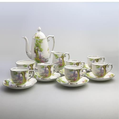 Art Deco Swan Lake Porcelain Roslyn Peacehaven Coffee Set c.1930 (1 of 10)