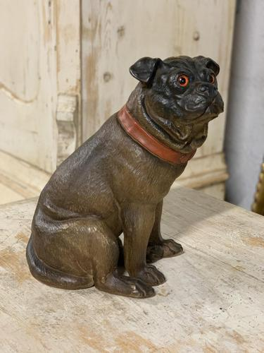 19th Century Painted Terracotta Pug Dog (1 of 3)