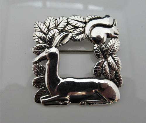 Georg Jensen/Arno Malinowski Silver Deer & Squirrel Brooch (1 of 7)