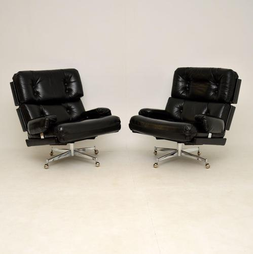 Pair of Vintage Leather / Chrome Armchairs & Ottoman by Howard Keith (1 of 16)