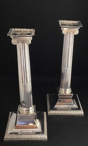 Pair of Late Victorian Silver Plated Corinthian Column Candlesticks (1 of 6)