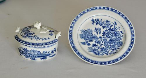 8th Century Dr Wall Worcester Blue Butter Tub, Cover & Stand c.1770 (1 of 8)