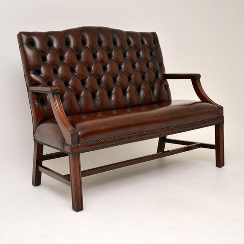 Leather & Mahogany Chippendale Style Sofa (1 of 12)
