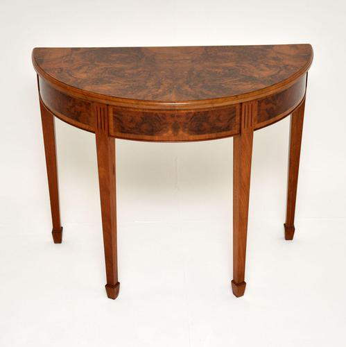 Antique Burr Walnut Demi Lune Console Table (1 of 8)