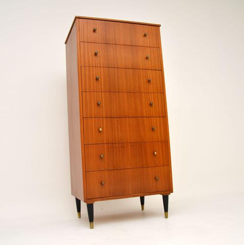 1960's Vintage Mahogany & Brass Tallboy Chest of Drawers (1 of 8)