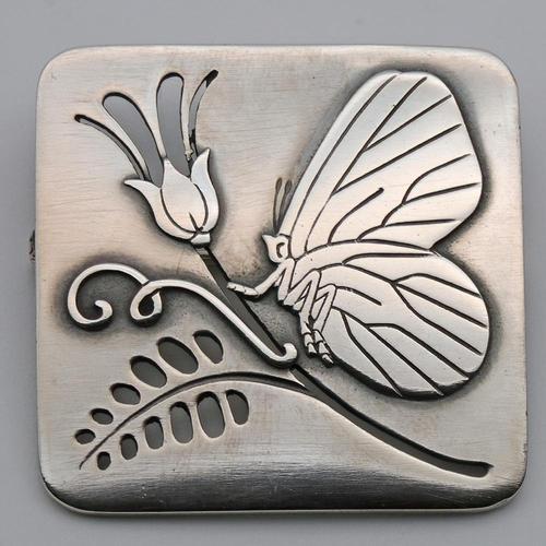 Georg Jensen Silver Butterfly & Flower Brooch, Rare (1 of 2)