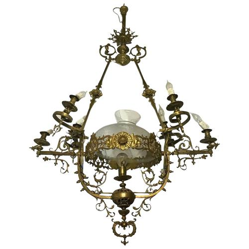 Large Tall 5Ft High Art Deco French Brass Chandelier Lighting 7 Branch Glass Dome (1 of 13)