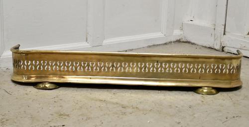 Small Victorian Pierced Brass Fender (1 of 4)