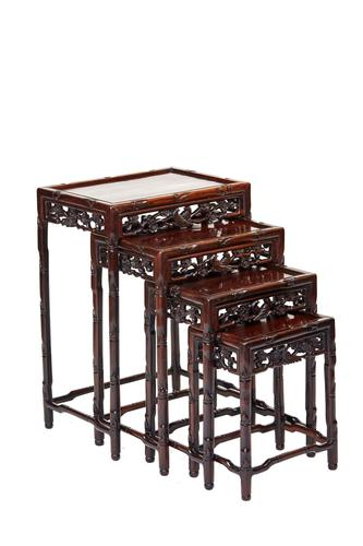 Chinese Hardwood Carved Quartetto Nest of Tables c.1900 (1 of 7)