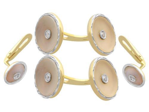 0.25ct Diamond & Crystal, 14ct Yellow Gold & Platinum Cufflink & Stud Set - Antique (1 of 9)