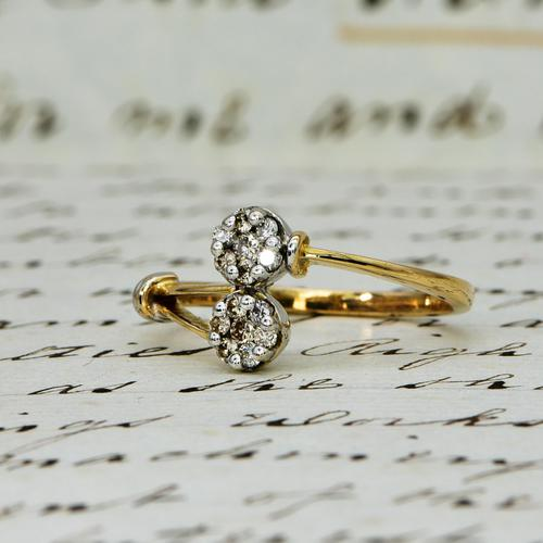 The Vintage Paired Flowers Fourteen Diamond Ring (1 of 6)