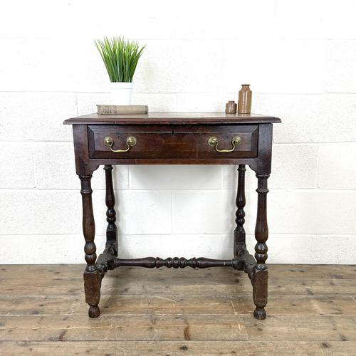 18th Century Antique Oak Side Table with Drawer (1 of 10)