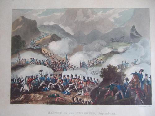 """Aquatint of the """"Battle of the Pyrenees, July 28th 1813"""", Pub. by James Jenkins in """"Martial Achievements of Great Britain & Her Allies 1799-1815"""" (1 of 5)"""