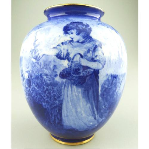 A Royal Doulton Art Pottery Flow Blue Blue Children Vase C.1912-30 (1 of 5)