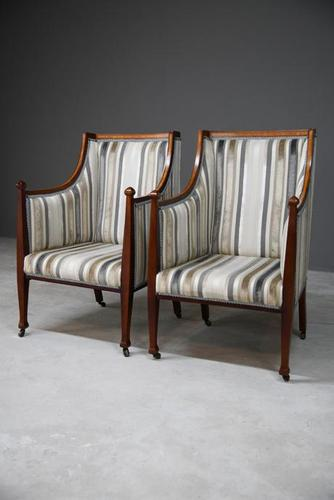 Pair Mahogany Upholstered Armchairs (1 of 11)