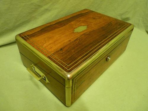 Quality Fully Brass Bound Rosewood Writing Box. Many Features. C1875 (1 of 16)