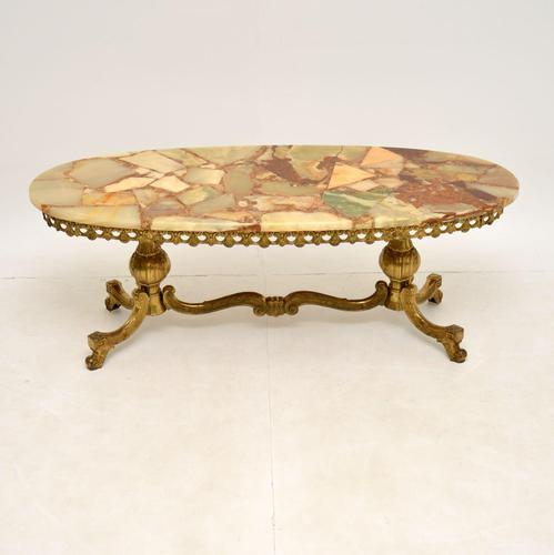 Antique French Style Brass & Onyx Coffee Table (1 of 9)
