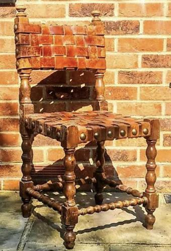 Antique Wood Riveted Woven Leather Seat Chair 19th Century (1 of 5)