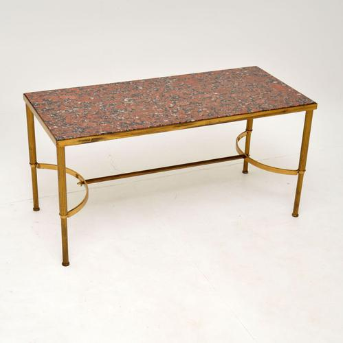 1960's Vintage Italian Brass & Marble Coffee Table (1 of 9)