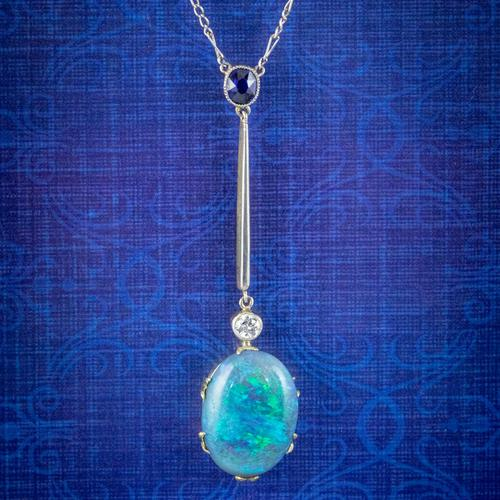 Antique Edwardian 7ct Black Opal Diamond Sapphire Lavaliere Necklace 18ct Gold Platinum Circa 1905 (1 of 8)