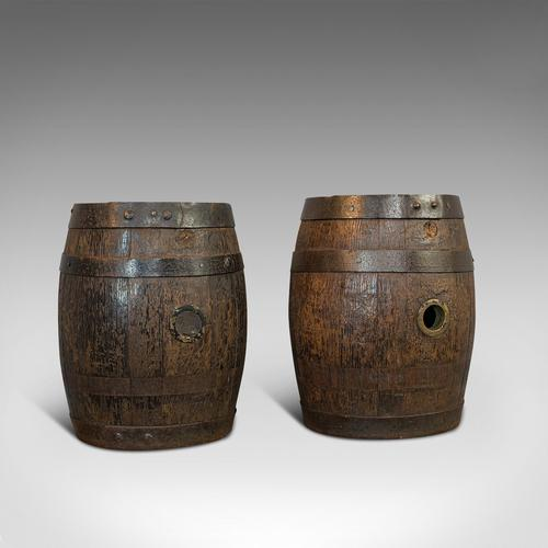 Pair Of, Antique Whiskey Pins, Oak, Barrel, Side Table, Taunton, Victorian, 1900 (1 of 11)