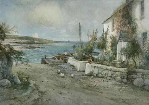 Joseph Hughes Clayton Watercolour 'Cottage by the Sea' (1 of 2)