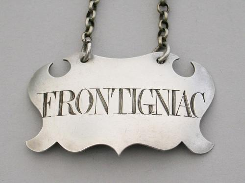 Mid 18th Century Provincial Silver Escutcheon Wine Label 'Frontigniac' Misspelling. Unmarked c.1750 (1 of 7)