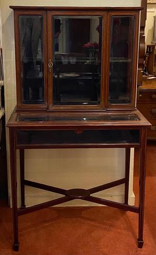 Late Victorian / Edwardian Mahogany Glazed Display Cabinet (1 of 4)