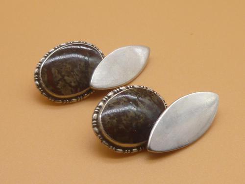 Sterling Silver & Agate Cufflinks (1 of 7)