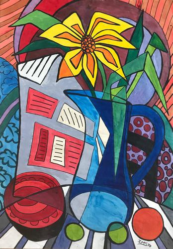 Original Watercolour & Marker Pen 'Exotic Flower & Jug' by Irene Stocks - Initialled & Dated 70 (1 of 1)