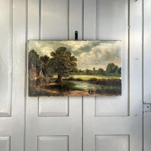 Antique English River Landscape Oil Painting After Constable Signed R Watts 1843 (1 of 10)