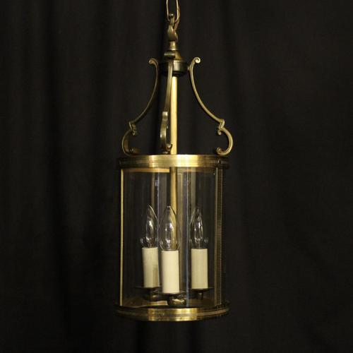 French Convex Gilded Triple Light Hall Antique Lantern (1 of 10)