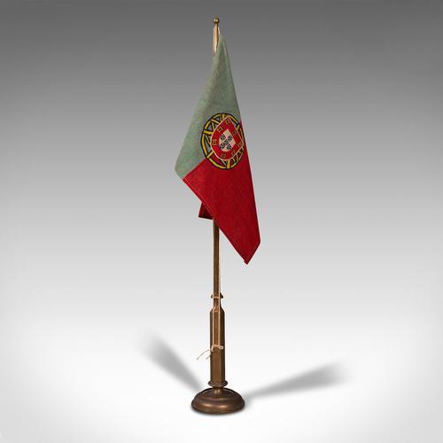 Antique Diplomat's Desk Flag, Continental, Brass, Portuguese, Circa 1920 (1 of 10)